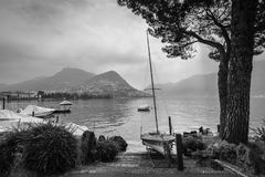 Lake Lugano in Switzerland - Black and white photography Stock Images