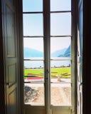 Lake Lugano from Villa Ciani. A view from Villa Ciani Royalty Free Stock Photography