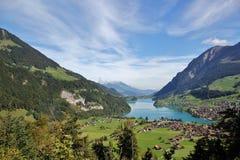 Lake Lungern Mountains Stock Photo