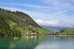 Lake Lungern in Switzerland. View from the water at lake Lungern Royalty Free Stock Photo