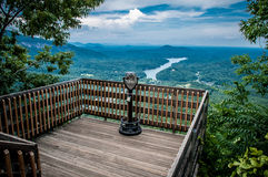 Lake lure overlook. The Chimney Rock Park is Found In the Mountains of North Carolina stock photo