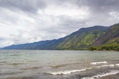 Lake Lut Tawar Aceh with Cloudy View. Lake Lut Tawar Aceh in cloudy weather royalty free stock photos
