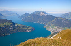 Lake Luzern. Aerial view of lake Luzern(Vierwalderstattersee) surrounded by montains Royalty Free Stock Photography