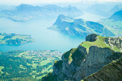 Lake Luzern and Alps, Switzerland. View from the mountain Pilatus at the Lake of Lucerne Stock Photo
