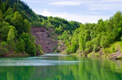Lake made on place of quarry Royalty Free Stock Photography