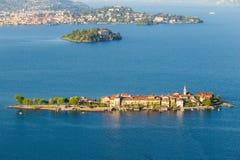 Lake Maggiore Island Fishermen and island Madre, Stresa italy Stock Photo