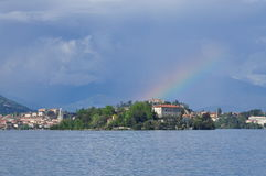 Lake Maggiore, Isola Madre and rainbow. Stock Photo
