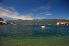 Isola Pescatori, isola Bella, Lago (lake) Maggiore, Italy. Isola Bella and Isola dei Pescatori. Lake (lago) Maggiore, Italy. Landscape with blue sky royalty free stock image