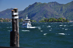 Lake Maggiore, Italy. Ferry approaching on a windy day Stock Photo
