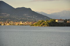 Lake Maggiore, Italy: Pallanza and isola Madre sunset Stock Image