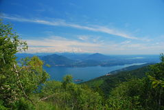 Lake Maggiore landscape, Italy. Lake Maggiore, Piedmont, Italy, seen from the Mottarone mountain, Stresa royalty free stock photos