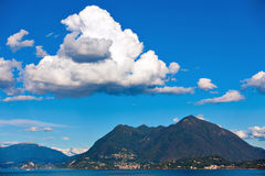 Lake Maggiore, Laveno and Brenna mountain Royalty Free Stock Photography