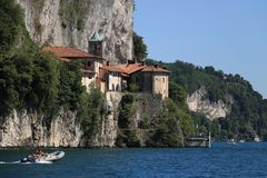 Hermitage of Santa Caterina del Sasso overlooking Lake Maggiore royalty free stock images