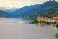 Lake Maggiore, Pallanza, Italy. The town of Verbania Pallanza, lake Maggiore, Italy, with Alps background stock photography