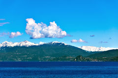 Lake Maggiore and Swiss Alps Royalty Free Stock Image