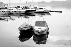 Lake Maggiore touristic marina, winter view. Black and white photo Stock Photo