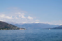 Lake Maggiore. The view to lake Maggiore and mountains from Ranco promenade Stock Photo