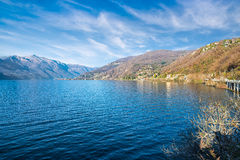 Lake Maggiore, view towards Colmegna, Maccagno and the Alps, province of Varese, Italy Stock Photography