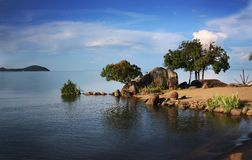 Lake Malawi, Africa. A relaxing view of Lake Malawi in Africa royalty free stock images