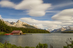 Lake Maligne`s Boat House. Boathouse of famous Maligne Lake in Jasper Nataional Park Royalty Free Stock Photo