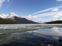 Lake Maligne. In Spring stock photos