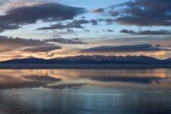 Lake Manasarovar (Mapam Yumco) at the sunset, Tibet Royalty Free Stock Photography