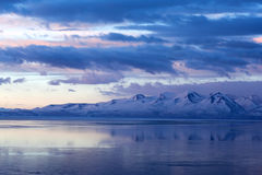 Lake Manasarovar (Mapam Yumtso) at the sunset, Tibet Stock Photos