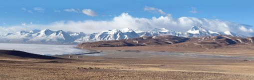 Lake Manasarovar in Ngari, Western Tibet, China. Panorama of Lake Manasarovar in Ngari, Western Tibet, China. According to the Hindu religion, the lake was first Royalty Free Stock Photo