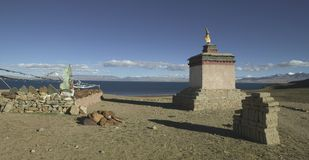 Lake Manasarovar in Tibet Stock Photo