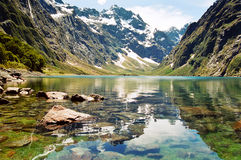 Lake Marian, New Zealand. The glacial lake Marian surrounded by the Darran Mountains, New Zealand