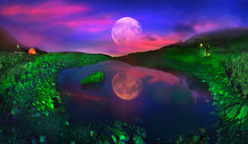 Lake Marmarosha And Moon Stock Photos