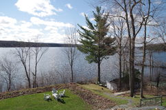 Lake Massawippi in the Eastern Townships of Quebec stock photo