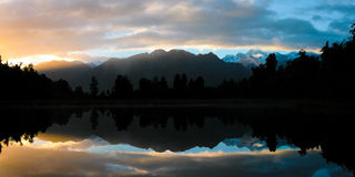 Lake Matheson at dawn Stock Photos