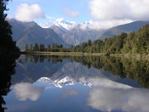 Lake Matheson. Near the Fox Glacier in South Westland, New Zealand, is famous for its reflected views of Aoraki/Mount Cook and Mount Tasman Royalty Free Stock Image