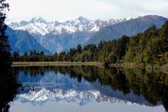 Lake Matheson royaltyfria bilder