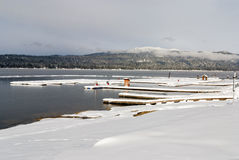 Lake in McCall Idaho winter boat docs Stock Images