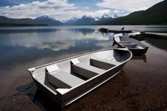 Lake McDonald. Boats at the dock on Lake McDonald, Glacier National Park, Montana Stock Photo