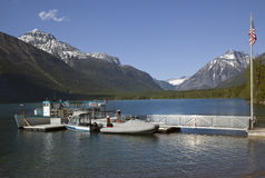 Lake McDonald Boats Glacier National Park Stock Image