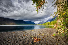 Lake McDonald on a Cloudy Day Royalty Free Stock Images