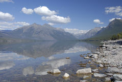 Lake McDonald in Glacier National Park. Lake McDonald Reflection in Glacier National Park in Montana Royalty Free Stock Photos