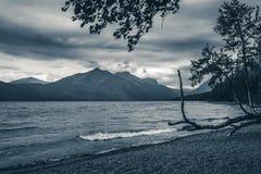 Lake McDonald, Glacier National Park, Montana. Black and white. Royalty Free Stock Photo