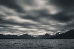 Lake McDonald, Glacier National Park, Montana. Black and white. Overcast sky. Royalty Free Stock Images