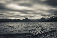 Lake McDonald, Glacier National Park, Montana. Black and white. Overcast sky. Royalty Free Stock Photo