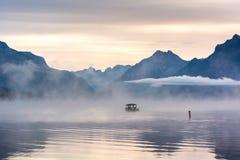 LAKE MCDONALD, MONTANA/USA - SEPTEMBER 21 : Boats moored in Lake Stock Images