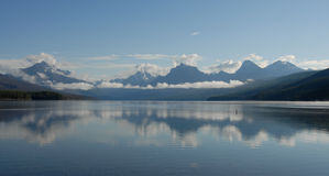 Lake McDonald and Mountains. At Glacier National Park Stock Images