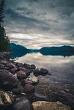 Lake McDonald on overcast day. [Portrait] Stock Image