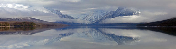 A Lake McDonald Panorama Reflection Royalty Free Stock Image