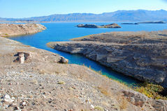 Lake Mead area near Boulder (Hoover) Dam. The image shows a part of Lake Mead near Boulder Dam (Hoover) Dam. The  land in the foreground, as well as the islands Stock Photos