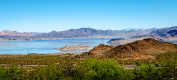 Lake Mead. Is formed by the Hoover Dam and is part of the Colorado river. It is the largest reservoir in the US Royalty Free Stock Images