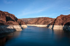 Lake Mead by Hoover Dam. Lake Mead created Hoover dam in the Black Canyon of the Colorado River, on the border between the U.S. states of Nevada and Arizona Royalty Free Stock Photos